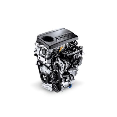 Graphic showing the 1.4 GDi gasoline engine inside the new Hyundai i30.