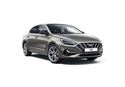A photo showing the sporty steering wheel of the new Hyundai i30 Fastback.
