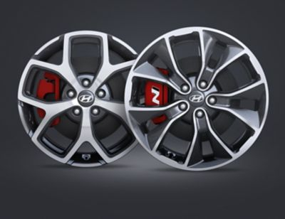 A close up view of the 18 and 19 inch alloy wheels of the Hyundai i30 N.