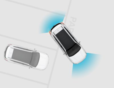 Illustration of the rear and front parking assist in the Hyundai i30 N .