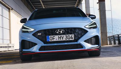 the aggressive bumper and air intake of the new Hyundai i30 N performance hatchback