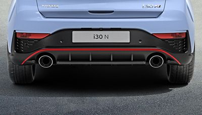 rear bumper, fog lights, and exhaust pipes ofthenew Hyundai i30 N performance hatchback
