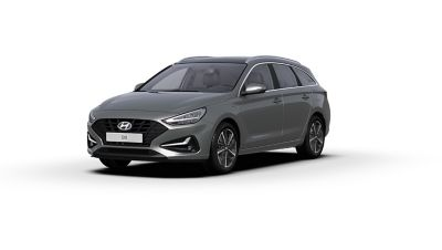 Vista frontal y lateral del nuevo Hyundai i30 en color Olivine Grey.