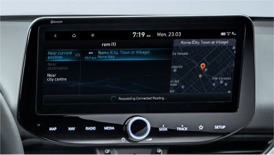 Image of the 10.25-inch screen of the new Hyundai i30, showing live point of interest