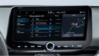 Image of the 10.25-inch screen of the new Hyundai i30, showing live fuel price information.