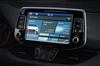 Vista en detalle del logo N en los estribos laterales del i30 Fastback N.
