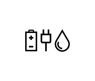 icon of a battery, a plug and a fuel drop.