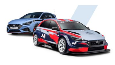 The sporty i30 N and the i30 N TCR in a collage.