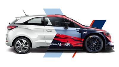 Slider of road and race versions of Hyundai i20 Coupe WRC