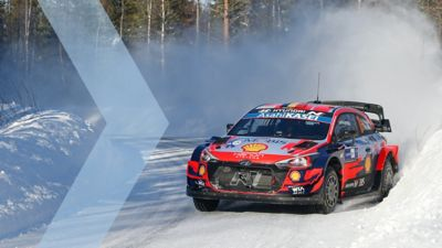 Snow in the Rally Arctic Finland and the Hyundai i20 Coupe WRC.