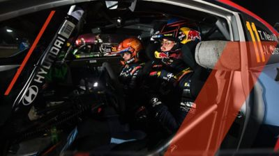 Hyundai Motorsport driver Thierry Neuville and co-driver Nicolas Gilson in the cockpit of Hyundai i20 Coupe WRC