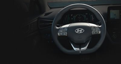 Close up image of the heated steering wheel in the Hyundai IONIQ Electric.