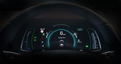 Zbliżenie na 7-calowy zestaw wskaźników w Hyundaiu IONIQ Hybrid.