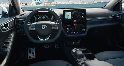 Close up view of thedashboard intheHyundai IONIQ Electric.