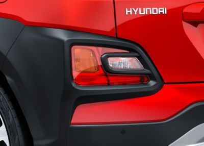Photo of the LED rear lights on the all-new Hyundai Kona.
