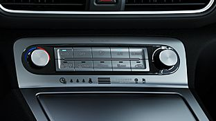 A photo of the climate control system of the all-new Hyundai Kona Electric.