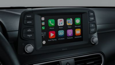 "A photo of the 7"" colour LCD touchscreen in the all-new Hyundai Kona Electric."