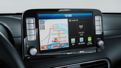 """A photo of the 8"""" touch-screen on the all-newHyundai Kona Electric."""