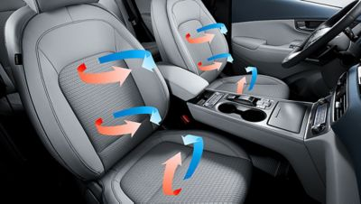 An illustration of the heated and ventilated front seat on the all-new Hyundai Kona Electric.