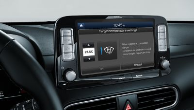 Image of the climate controls in the all-new Hyundai Kona Electric.