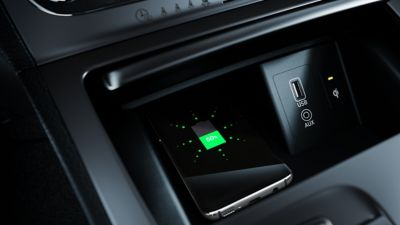 Photo of the wireless charging pad in the all-new Hyundai Kona Electric.