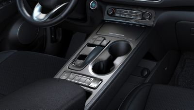 View of the center console of the all-new Hyundai Kona Electric.