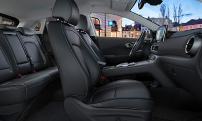 Interior view of the all-new Hyundai Kona Electric.