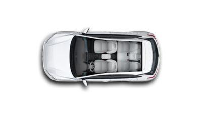Wnętrze nowego Hyundaia KONA Electric widziane z góry.