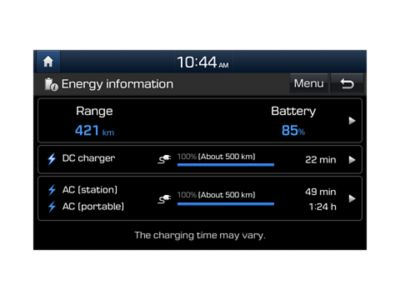 Graphic showing the programmable charging settings on the all-new Hyundai Kona Electric.