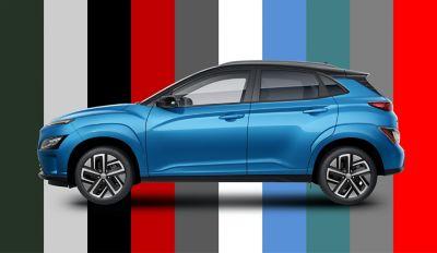 La gamma di colori di Nuova Hyundai Kona Electric con sette nuovi colori.