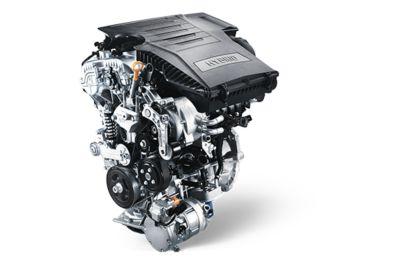 Ilustración del sistema predictivo en cuesta arriba del Hyundai KONA Híbrido eléctrico.