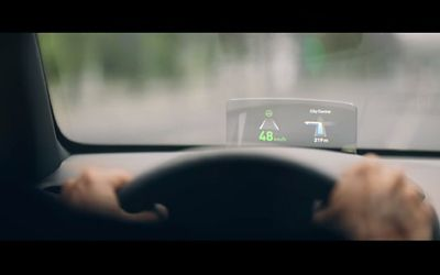 The Head-up display (HUD) in the new Hyundai Kona Electric projecting important informations into your sight.
