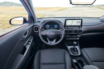 "Close up of the 10.25"" touchscreen inside the new Hyundai KONA"