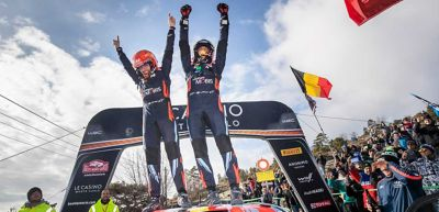 Hyundai Motorsport Driver Thierry Neuville and co-driver Nicolas Gilsoul celebrating victory at the Monte Carlo Rally