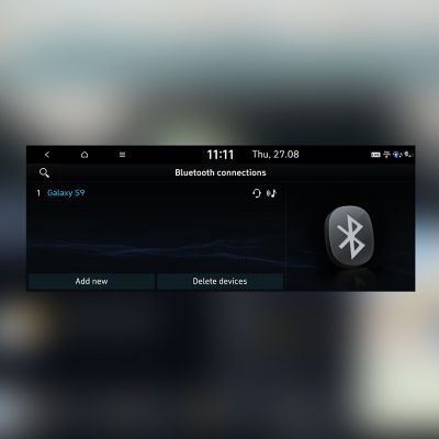 Screenshot of a Hyundai touchscreen showing connected Bluetooth devices.