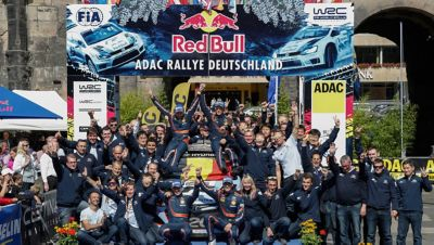 Images of the winner's ceremony at the ADAC Rallye Deutschland.