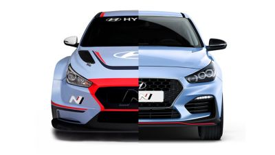 Front view of the Hyundai i30 N TCR and the i30 N, highlighting their differences and similarities.