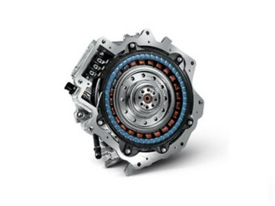 Illustrazione del motore elettrico del SUV compatto Nuova Hyundai KONA Hybrid.