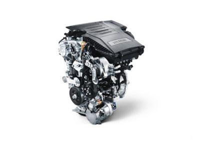 Illustrazione del motore a benzina del SUV compatto Nuova Hyundai KONA Hybrid.