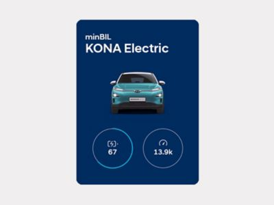 An app screenshot showing the driving statistics of the Kona Electric on myHyundai.