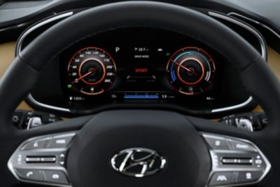 "The new Hyundai Santa Fe Hybrid's new 12.3"" fully digital cluster and steering wheel."