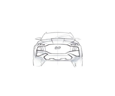 A concept drawing in black and white of the new Hyundai Santa Fe 7 seat SUV from the front.