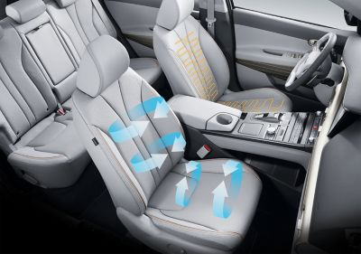 Photo showing the all-new Hyundai Nexo's ventilated seats.