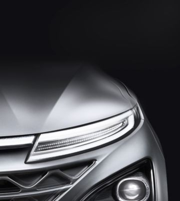 Photo showing the all-new Hyundai Nexo's LED headlamp.
