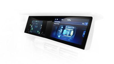 "Theelegant 12.3"" wide screen display in all-new Hyundai Nexo's cockpit."