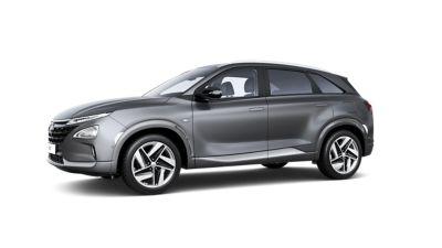 Hyundai Nexo, widok z boku ukazujący charakterystyczne linie designu.