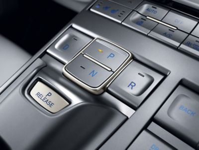 Photo showing the shift by-wire buttons in the centre console of the all-new Hyundai Nexo.