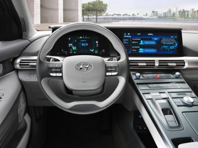 Photo of the all-new Hyundai Nexo's economic steering wheel with paddle shifters.