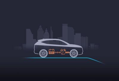 Illustration of the new Hyundai i30 showing thestart of 48V mild hybrid system.