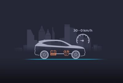 Illustration of the new Hyundai i30 showing theextended start-stop functionality of the 48V mild hybrid system.